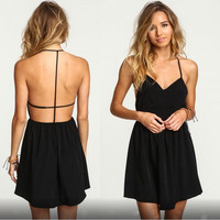 Black Cross Halter Pleated Dress