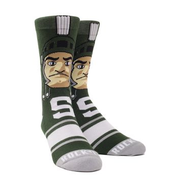 Rock 'Em Elite Michigan State Spartans - Sparty Mascot Knitted Licensed L/XL Crew Socks