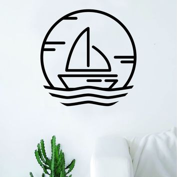 Sailboat V2 Wall Decal Sticker Vinyl Art Bedroom Living Room Decor Decoration Teen Quote Inspirational Boy Girl Sail Boat River Lake Ocean Beach Sea Nautical