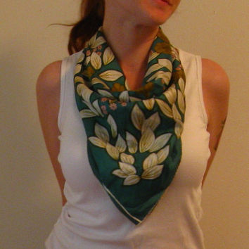 Vintage Green pink and white square scarf by JunkStoreAddict