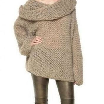 ONETOW Camel Off the Shoulder Long Sleeve Chunky Sweater
