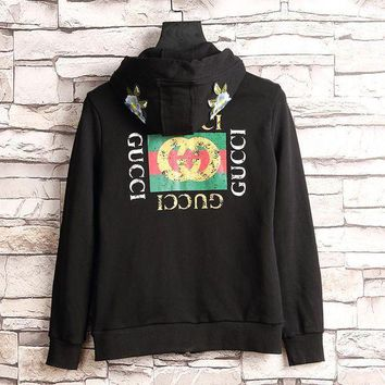 LMFUX5 GUCCI Flower Embroidery Hooded Casual Long Sleeve Cardigan Jacket Coat-1