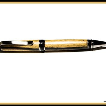Black and White Ebony Wood Ball Point Pen
