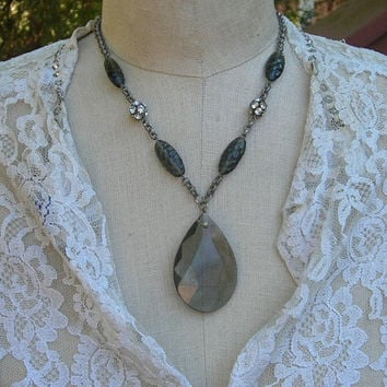 GLass Bead  Necklace Gray Vintage Assemblage Rhinestone Ball Smoky Quartz Glass Big Bold Chunky