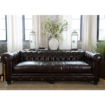 Estate Chesterfield Style Top Grain Leather Sofa Saddle