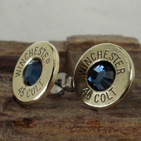 Colt 45 - Ultra Thin Bullet Earrings Midnight Blue