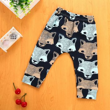 Fashion Baby Pants Cartoon Animal Wolf Prints Boys Trousers Casual Cotton Soft Harem Pants 4-24M Winter Elastic Infant Clothes 2