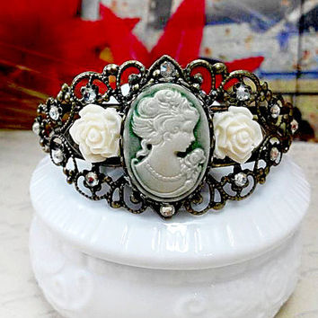 Cameo Bracelet, Resin Cameo Bangle, Victorian Bracelet, Hand Jewelry, Bridesmaid Accessory, Vintage Style Bracelet, Gift for Mom, Theater