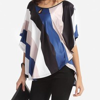 Casual Color Block Striped Cape Sleeve Women's Boat Neck Short-sleeve-t-shirt