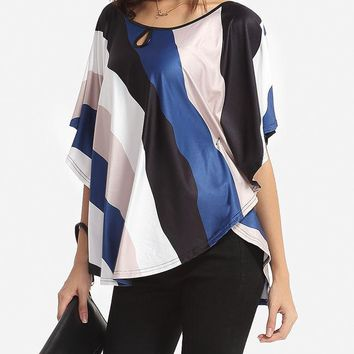 Streetstyle  Casual Color Block Striped Cape Sleeve Women's Boat Neck Short-sleeve-t-shirt