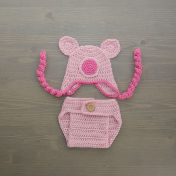Crochet Pig Costume, Crochet Pig Set, Diaper Cover Set, Crochet Baby Hat, Newborn Photography Prop, Photo Prop, Baby Pig Costume, Pig Hat