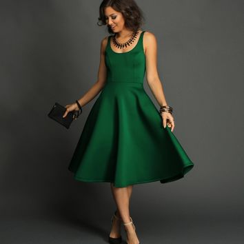 Emerald Tea-length Flare Dress