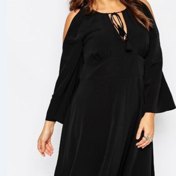 Plus Size Women's Fashion V-neck Strapless One Piece Dress [6338990593]