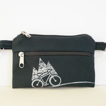 Navy blue bike belt bag Vegan PRINT screen MOUNTAIN belt bag cell phone covers Bicycle Bike