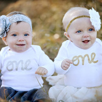 Long Sleeve First Birthday Onesuit