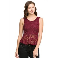 Sexy Floral Lace Sleeveless Peplum Cropped Tank Top with Ribbon Back Shirt
