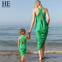 HE Hello Enjoy mother daughter dresses New 2016 summer Sleeveless green Sandy beach Dress girl and mother dress family matching