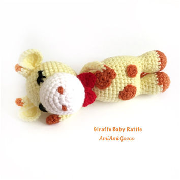 Crochet Baby Rattle Amigurumi Giraffe Crochet Giraffe Stuffed Toy Giraffe Nursely Toy Baby Toy Kawaii Giraffe Plush Baby Shower Birthday