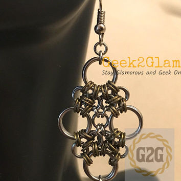 Stainless Steel & Bronze color iron Chain Maille Earrings with chinese muscle shell chainmail jewelry