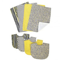 Trend Lab Hello Sunshine 4 Pack Bib and 4 Pack Burp Cloth Set