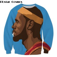 PLstar Cosmos new arrival 2018 Autumn Fashion Men Women Sweatshirt Star Funny Lebron James 3d print casual Crewneck Pullovers