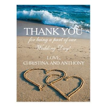 Heart on the Shore Beach Wedding Thank You Note Postcard