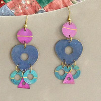 Long Painted Metal Earrings Purple Blue Green Southwest Colors Hippie Boho Bohemian Jewelry 90s style Hippy Circles Triangles