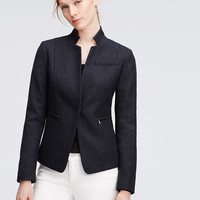Rib Knit Paneled Jacket | Ann Taylor