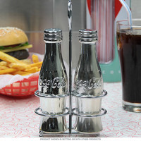 Coke Bottles Silver Salt and Pepper Shakers with Rack