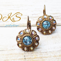 Sara's Garden, Swarovski Flower Earrings, Bridal, AB, Lever Backs, Antique Gold, Embellished, Blue, DKSJewelrydesigns, FREE SHIPPING