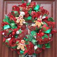 Christmas Wreath - Deco mesh Wreath - xmas Wreath, holiday decor - Gingerbread - Gingerbread Wreath - Red Green Wreath, READY TO SHIP