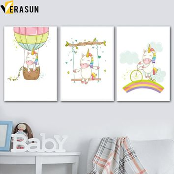Cartoon Unicorn Hot Air Balloon Rainbow Wall Art Canvas Painting Nordic Posters And Prints Animal Wall Pictures Kids Room Decor