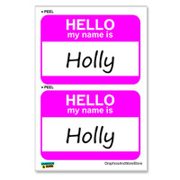 Holly Hello My Name Is - Sheet of 2 Stickers