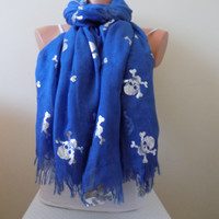 Blue Skull Scarf,Skull printed scarf,Day of the Dead Scarf, Skull Cowl Wrap,Women Fashion Accessories,women Scarf gift ideas,gifts for her
