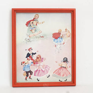 Vintage Mary Had a Little Lamb Print, Red Framed Wall Art 1950s Mid Century Baby's Room Decor, B.P. Co