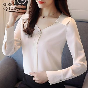 new spring fashion long sleeved blouses chiffon shirts office lady women tops v-neck blouses solid white clothing D467 30