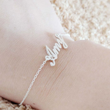 Custom Name Bracelet Silver Any Dainty Bracel