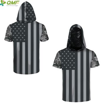 Vintage The Old Glory Print Men Skateboarding Hoodie T-shirts Streetwear Gym Hoody Tee Shirts Grey American Flag Hooded Tops