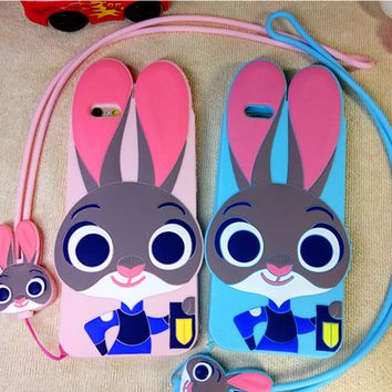 Zootopia Cute Judy Silicon Shockproof  Iphone 5se 6 6s plus  Case  With Rope