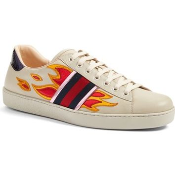 Gucci 'New Ace Flames' Sneaker with Genuine Snakeskin Detail (Men) | Nordstrom