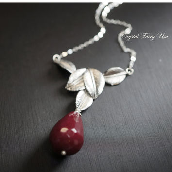 Large Ruby Necklace , Silver Ruby Necklace , Artisan Teardrop Ruby Jade Jewelry