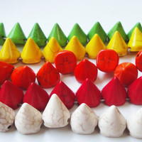 Bullet Stud Sharp Spikes Cone Magnesite Gemstone Beads 16mmx14mm Orange, Green, Yellow, White, Red Select Your Color