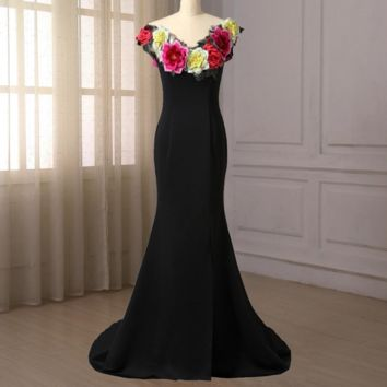Flowers Evening Dresses Cap Sleeve Floor Length Mermaid Evening Gowns Party Formal Dress
