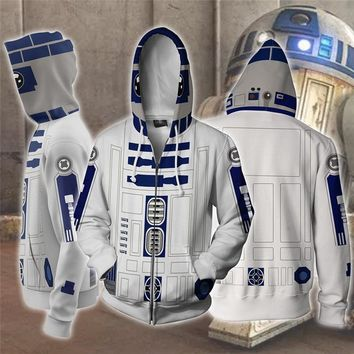 Star Wars R2-D2 robot Cosplay Costume Men's Sweatshirt Hooded Uniform Streetwear Women Mens Hoodies Zipper Hoddies