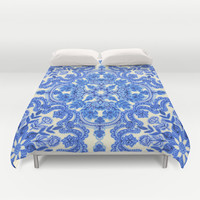 Cobalt Blue & China White Folk Art Pattern Duvet Cover by micklyn