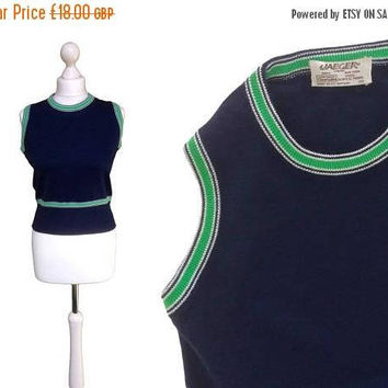 On Sale Vintage Jaeger Knitwear | Green And Navy Blue | 70's Tank Top | Sleeveless Vintage Sweater