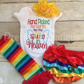 Hand picked for earth shirt or bodysuit-- Baby girls outfit-- Rainbow baby set-- Hand Picked for earth by sibling -- can customize wording - 2
