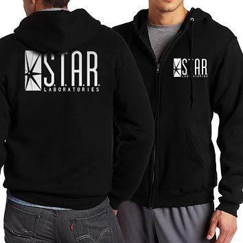 The Flash STAR S.T.A.R. Labs Men Sweatshirt 2017 Spring Autumn Men Zippered Hoodies Fashion Tracksuit Movie Fans Hip Hop Jacekt