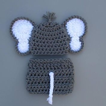 Newborn Elephant Outfit Crochet Baby Photo Prop
