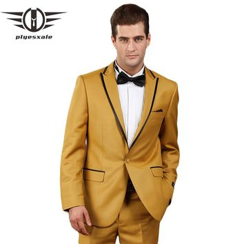 Gold Suits For Men Clothing Smoked Wedding Suits Nightclub DJ Male Singers Prom Suit